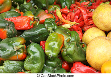 Peppers at the Otavalo Market - Fresh, local red and green...