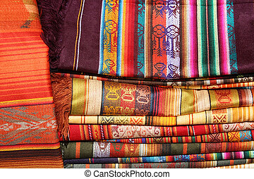Stacked Linens in Otavalo - Handmade linens for sale at the...