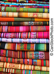 Stacked Table Linens in Otavalo - Handmade linens for sale...
