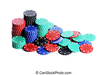Casino chips isolated on white - The casino chips isolated...