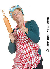 angry house wife with apron and roller pin