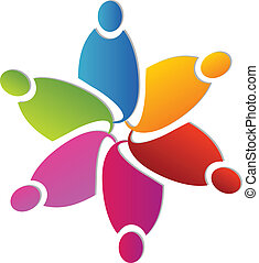 Teamwork colorful flower shape logo vector