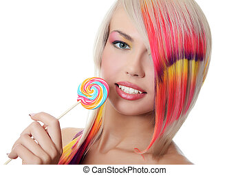 The girl with sugar candy isolated - The girl with a sugar...