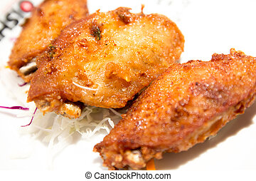 Fried chicken wings on the plate