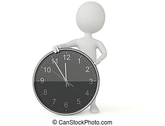3d humanoid character show a clock on white