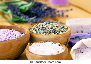 bowl of lavender bath salt - beauty treatment