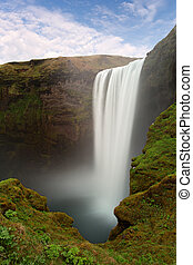 Iceland waterfall - Skogafoss - Iceland waterfall -...