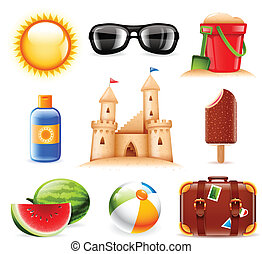 Summer and beach related icons - Set of nine summer and...
