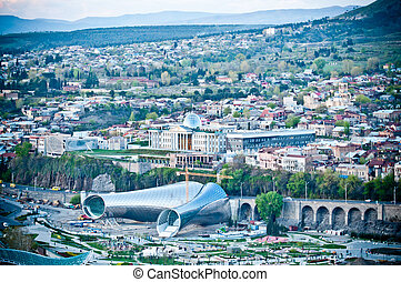 Philharmonic building and panoramic view in Tbilisi capitol...