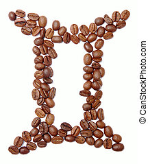 gemini zodiac sign of coffee beans isolated on white