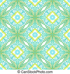 Seamless vector pattern with stylized flowers in thin lines...