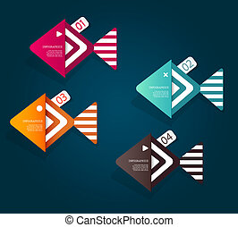 Set of fish shaped paper objects with place for your text.