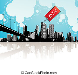 City scape with sky and clouds at the background and badge...