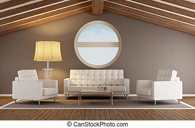 Modern living room in an attic with wooden roof and round...