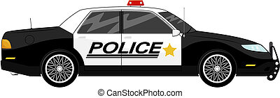 police car - illustration of police car side view isolated...