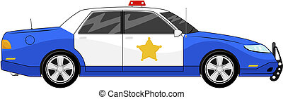 blue police car - illustration of generic blue police car...