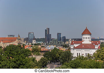 Vilnius skyline - View over Vilnius old town and new town