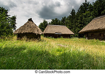 wooden farmhouse in Pyrohiv in Ukraine Open Air Museum