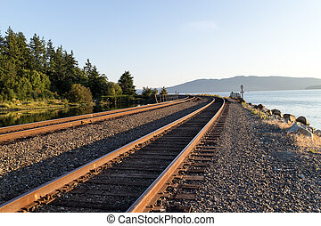 train tracks round the bend - some train tracks round the...