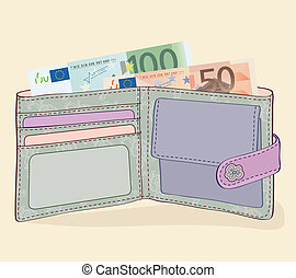 Wallet with 50 and 100 Euro bills - Illustration of wallet...