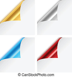 Colorful Metallic Paper Corner Fold - Set of four colorful,...