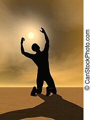 Prayer to the sun - 3D render - Back of a man praying to the...
