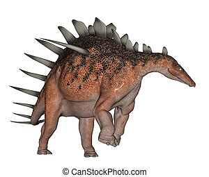 Kentrosaurus dinosaur walking - 3D render - Kentrosaurus...
