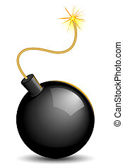 Lighted bomb - Vector illustration of explosive bomb with...