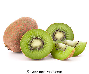Whole kiwi fruit and his segments isolated on white...