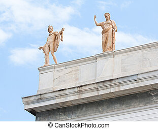Apollo and Hera in Athens, Greece - Sculptures of Apollo and...