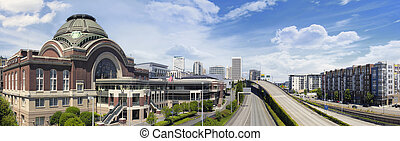 Freeways to City of Tacoma Washington with Union Station...