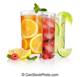 glass of ice tea with lemon and mint on white background