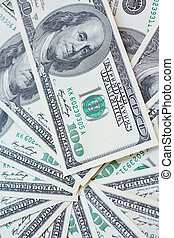 Many dollars banknotes - USD paper currency