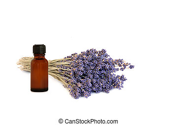 Lavender Herb Essential Oil - Lavender herb with brown...