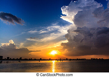 Sunset at west lake Ha Noi Vietnam