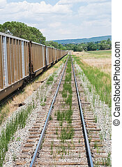 Boxcars - Railway line and boxcars, La Veta, Colorado