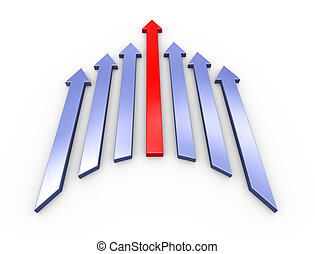3d leading red arrow - 3d illustration of leading red arrow...