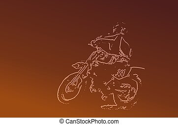 Dirt bike brown - Silhouette of dirt bike rider with brown...