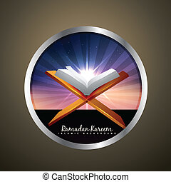 book of quran vector label