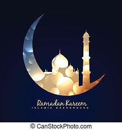 ramadan kareem background - vector illustration of moon with...
