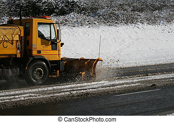 The Snow Plough - A snow plough clearing the roads
