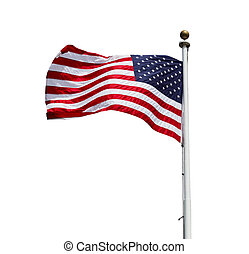 American Flag - Waving American US flag isolated on white...