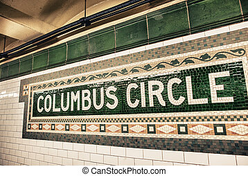 Columbus Circle subway sign in New York City