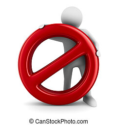 Sign forbidden on white background. Isolated 3D image