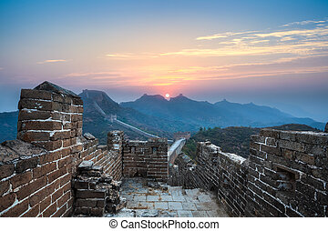 the great wall in sunrise,jinshanling,China