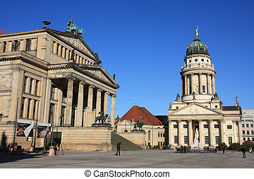 Gendarmenmarkt Berlin - French cathedral and Konzerthaus on...