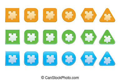 set of jigsaw puzzle part icons
