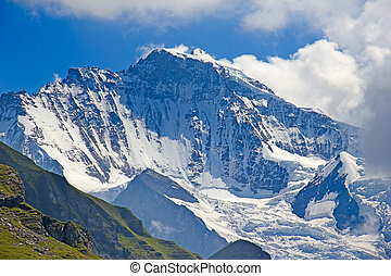 Jungfrau region - Famous mountain Jungfrau in the swiss alps