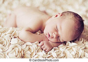 obraz, Przedstawiając, CÙte, spanie, niemowlę