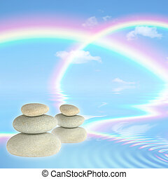 Rainbows and Spa Stones - Fantasy abstract of double...